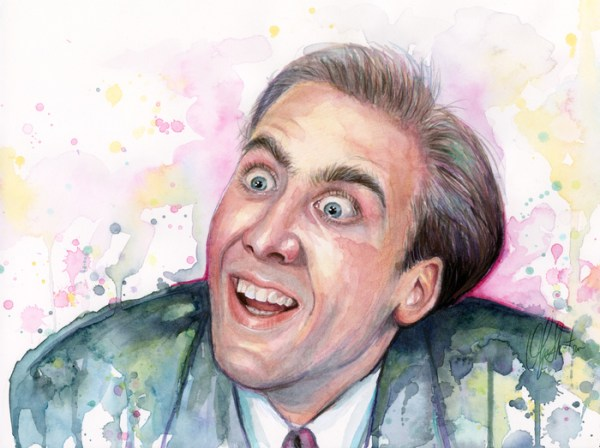 Nicolas Cage You Dont Say Meme Painting Watercolor Vampires Kiss Prints