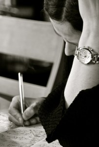 Writing at Louisa's - Photo by Jerry Jaz