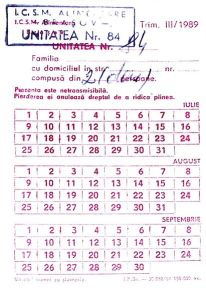 Romanian Ration Card (1989)