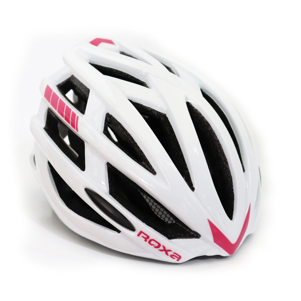 casco pattinaggio regolabile bianco rosa retro - roxa