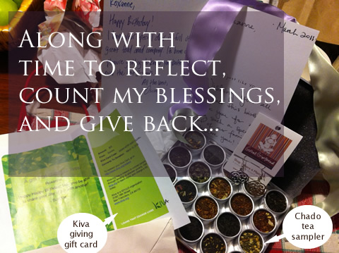 along with time to reflect, count my blessings, and give back...