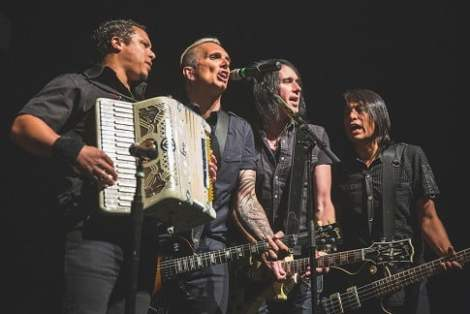 AUSTIN, TX - JULY 09:  (L - R) Musicians Josh Crawley, Art Alexakis, Dave French, and Freddy Herrera of Everclear perform in concert as part of Summerland Tour 2014 at ACL Live on July 9, 2014 in Austin, Texas.  (Photo by Rick Kern/WireImage)