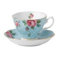 Royal Albert Polka Blue Vintage Teacup/ Saucer - Royal ...