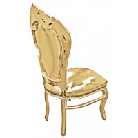 Chair Baroque Rococo style faux leather gold and gold wood