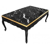 Large coffee table Baroque style black shine wood and ...