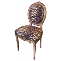 Chair Louis XVI style leopard fabric and raw wood