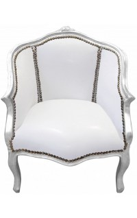 Baroque bergere armchair Louis XV white leatherette and ...