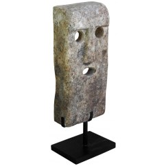 Wrought Iron Kitchen Table Sink Cabinet Large Stone Mask Sculpture Mounted On A Metal Stand