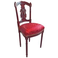 Harp chair Louis XVI style with red satin fabric ...