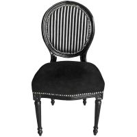 Chair Louis XVI style black and white stripes with black ...