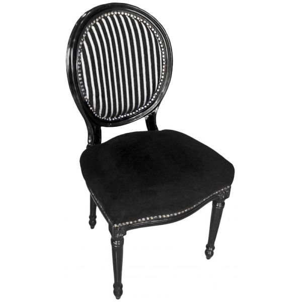 Louis Black and White Stripe Chair