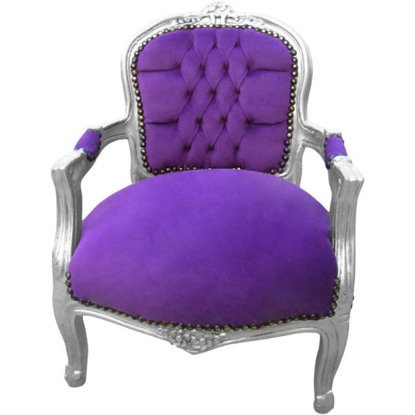 Armchair Child Purple Velvet And Silver Wood