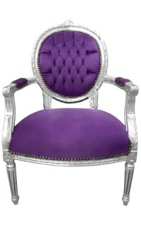 Baroque armchair Louis XVI style purple velvet and silver wood