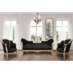 Bronze Kitchen Lighting Area Rugs For Under Tables Baroque Napoleon Iii Sofa Black Velvet Fabric And Gold Wood