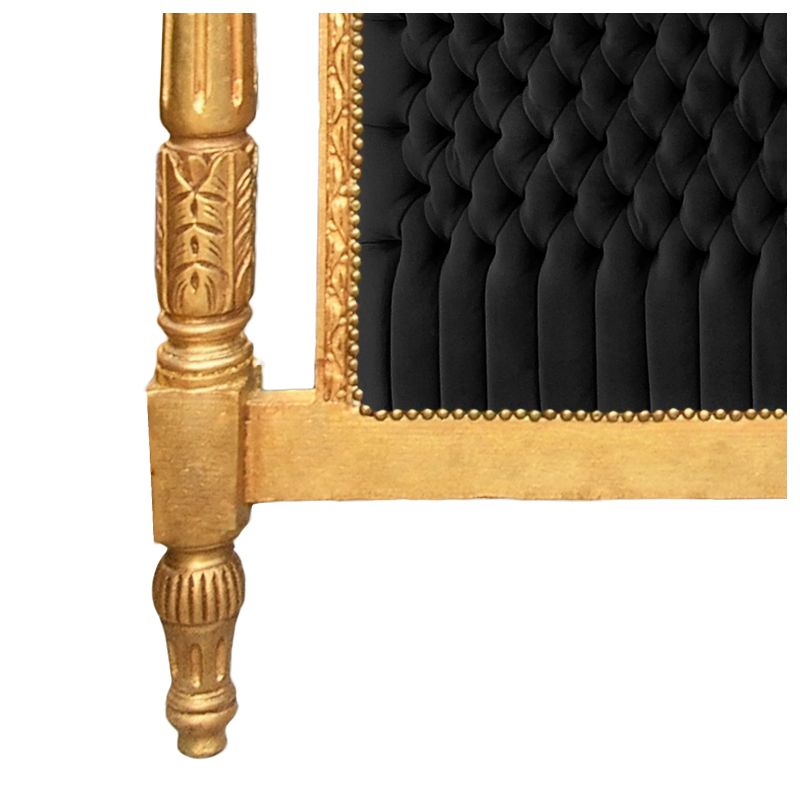 Baroque bed headboard black velvet fabric and gold wood