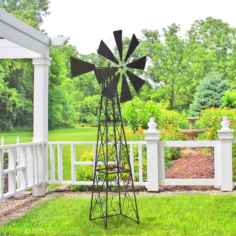 Grande girouette Eolienne pour jardin en fer forg
