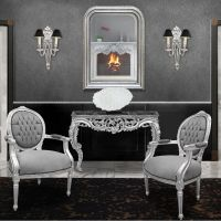 Louis Philippe style mirror and silver beveled mirror
