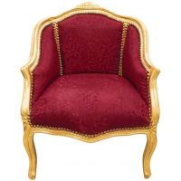 Baroque bergre armchair Louis XV style red satine fabric ...