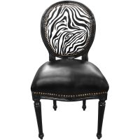 Louis XVI style chair zebra and black false skin with ...