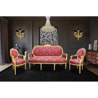 "Baroque armchair Louis XVI red fabric ""Gobelins"" pattern ..."