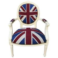"Armchair baroque style of Louis XVI ""Union Jack"" and beige"