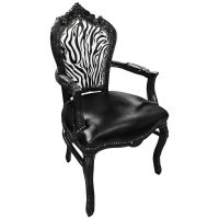 Baroque rococo style armchair zebra and black leatherette ...
