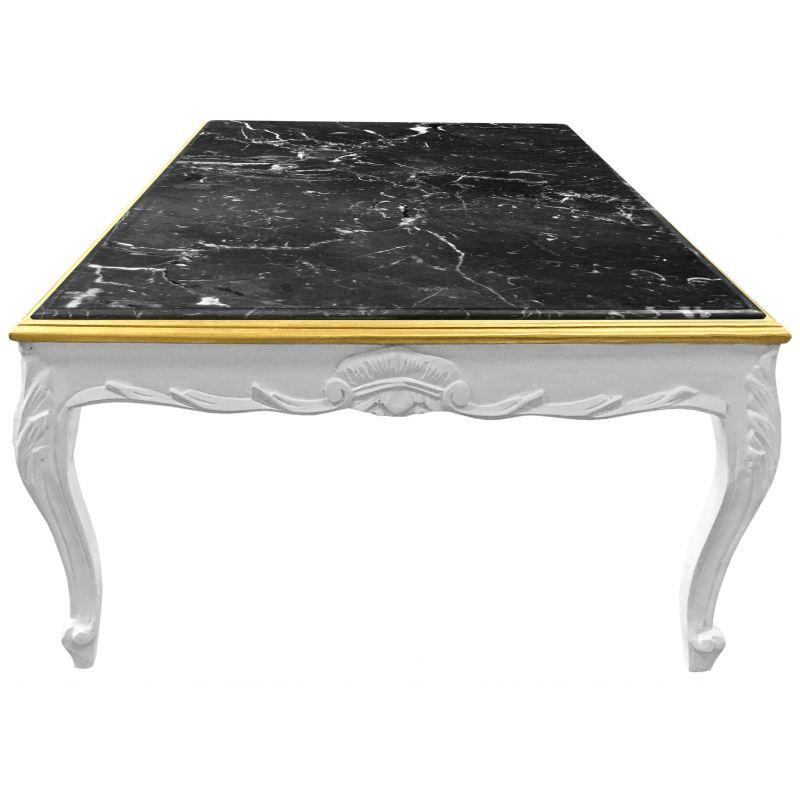 grande table basse de style baroque bois laque blanc et marbre noir