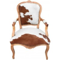 Armchair Louis XV with real brown and white cowhide and ...
