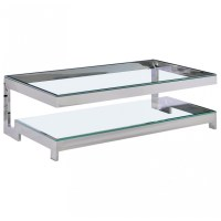 """Large coffee table """"Hermes"""" in silver finish stainless ..."""