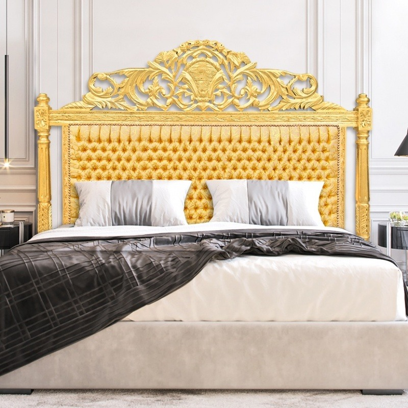 tete de lit baroque tissu satine dore et bois dore