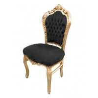 Baroque Rococo style chair black velvet fabric and gold wood