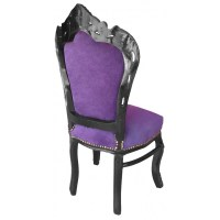 Chair Baroque Rococo style purple velvet and black wood