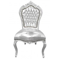 Baroque Rococo style chair silver leatherette and silver wood
