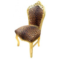 Chair Baroque Rococo style leopard and gold wood
