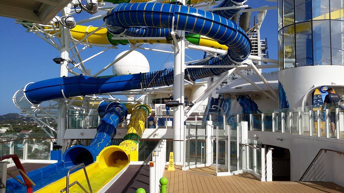 Photo tour of water slides on Royal Caribbeans Adventure