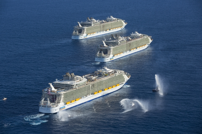 The Allure of the Seas is pictured here with sister ships from the Oasis Class. Royal Caribbean has not made any announcements. However, it may be a key part of Royal Caribbean 2021-2022 plans from Galveston.