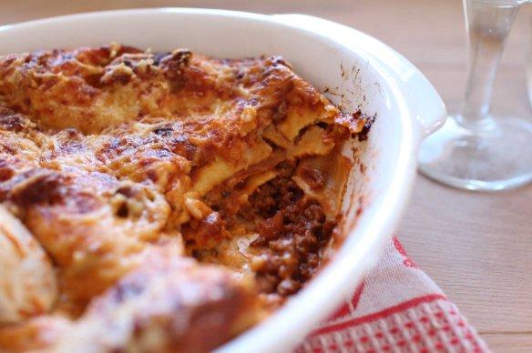lasagnes porc boeuf vin