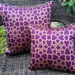 Premium Quality Royal Purple Golden Brocade Geometric Design Cushion Covers Royal Deco Furnishing