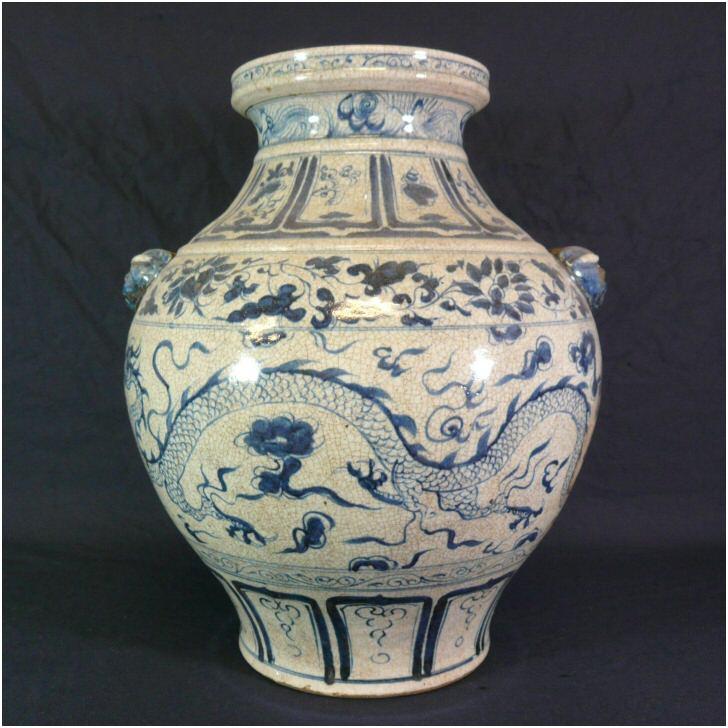 Vase Blanc Bleu Style Dynastie Ming Meubles Art Dco
