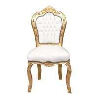 Baroque chair white and gold - Bronze statues