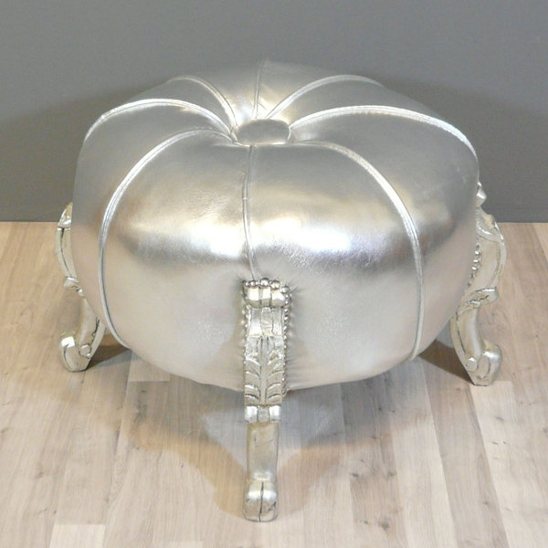Pouf baroque argent  Chaise et mobilier baroque