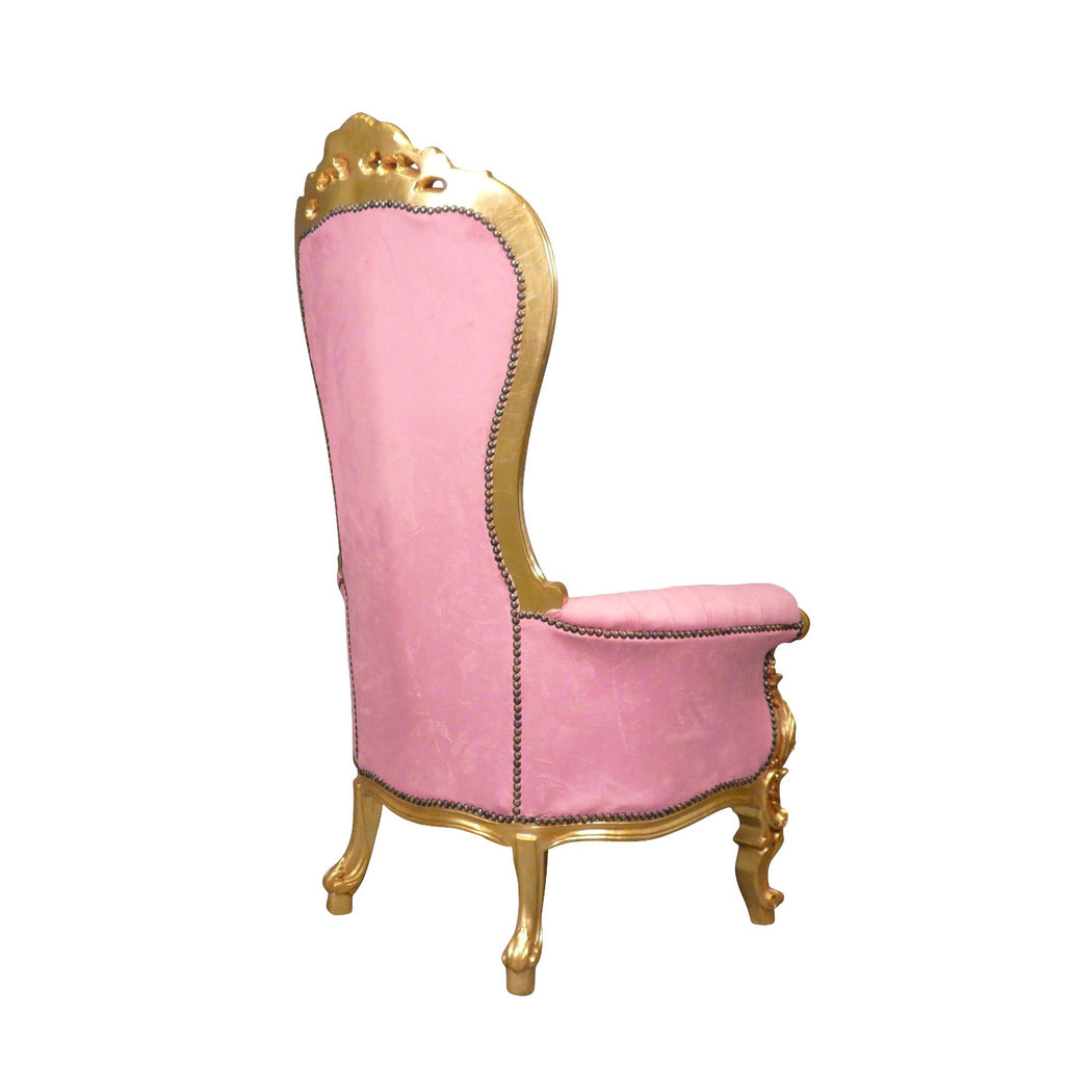 Fauteuil baroque trne rose  Chaise baroque
