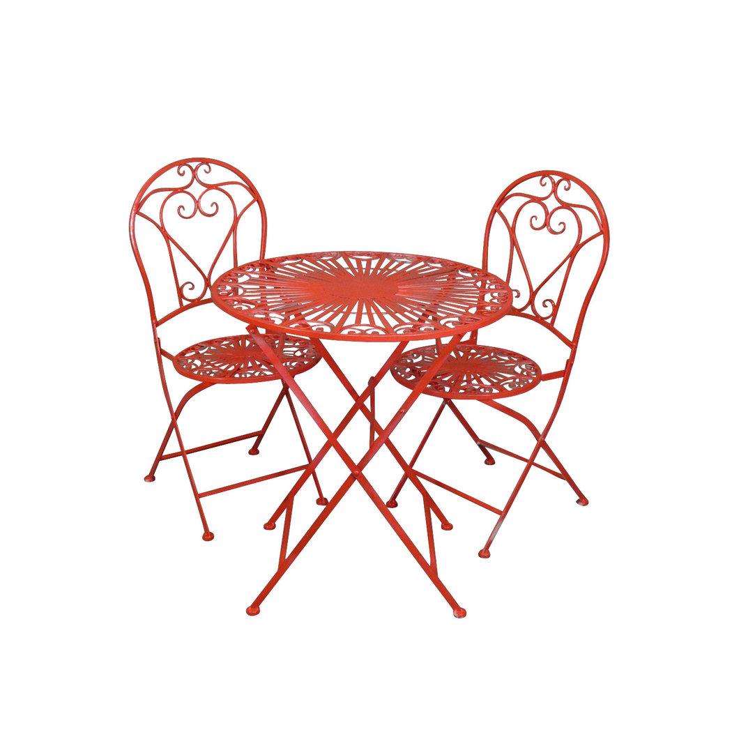 Salon De Jardin En Fer Forg Rouge Avec Deux Chaises