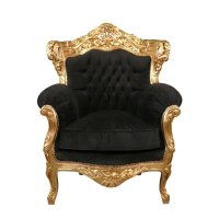 Black armchair baroque velvet and gilded - Baroque Furniture