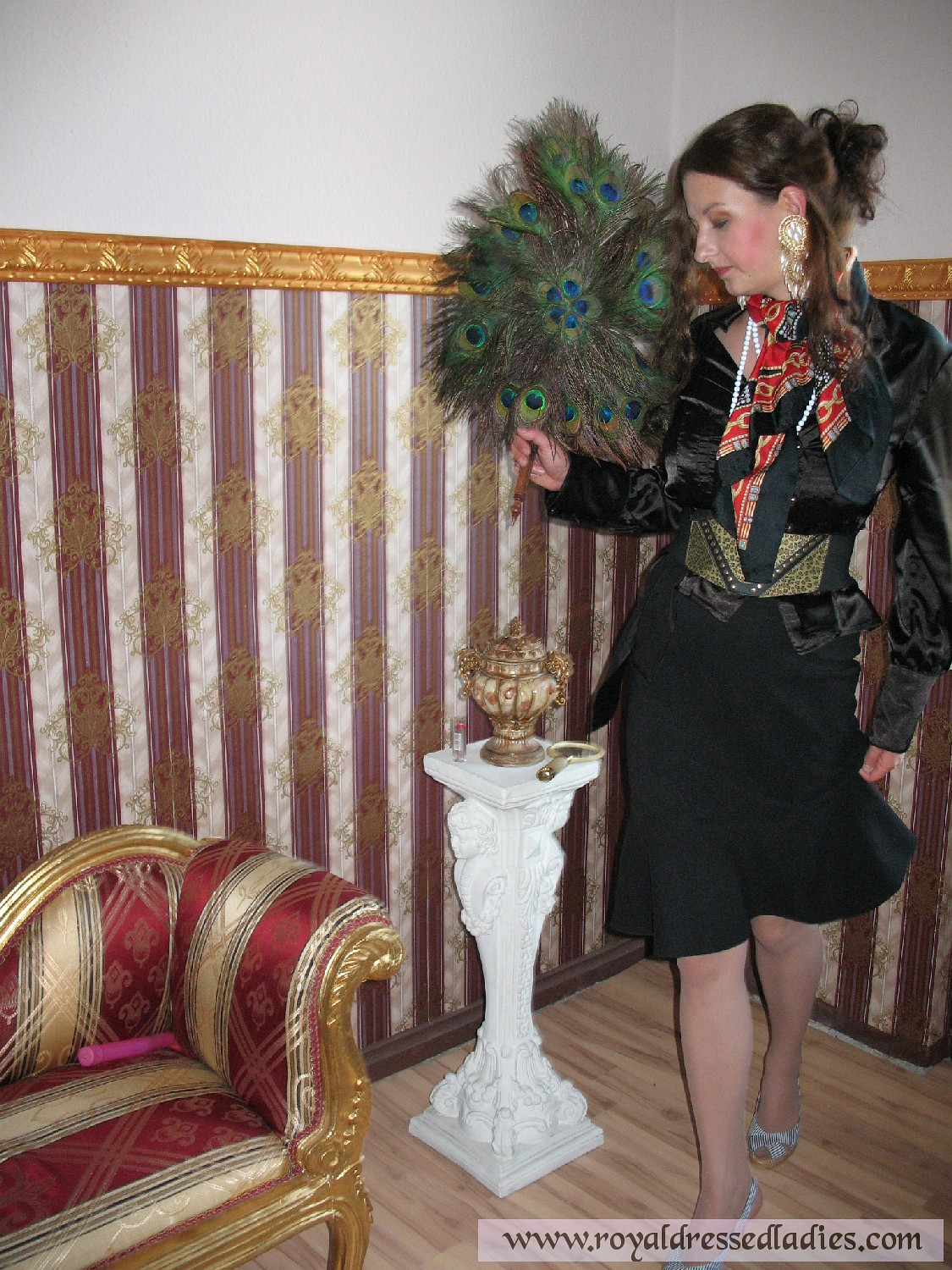 Lady In Satin Slip Blouse And Pantyhose Fingering Her