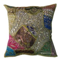 Green Antique Beaded Patchwork & Embroidered Accent Throw ...