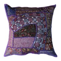 Antique Purple Heavy Beaded Patchwork Embroidered Accent ...