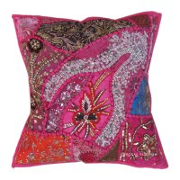 Pink Antique Beaded Patchwork Indian Embroidered Throw ...