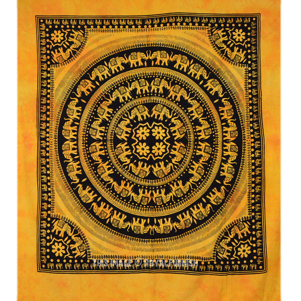 Yellow Indian Elephant Mandala Hippie  Tie Dye Dorm Decor