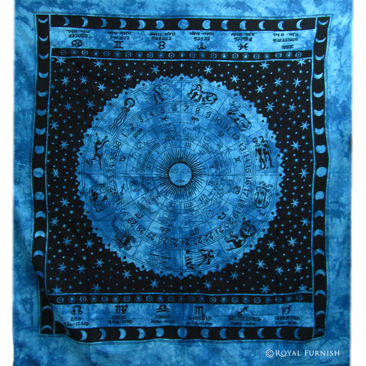 Blue Astrology Zodiac Horoscope Tie Dye Tapestry Wall Hanging Bedspread  RoyalFurnishcom